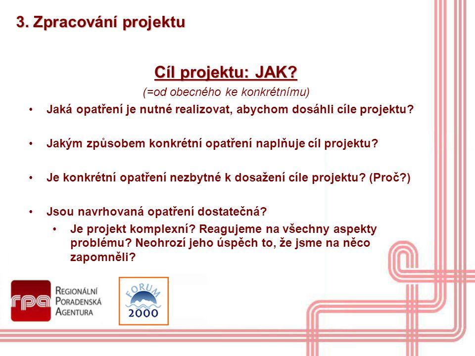 3. Zpracování projektu Cíl projektu: JAK? (=od obecného ke konkrétnímu) Jaká opatření je nutné realizovat, abychom dosáhli cíle projektu? Jakým způsob