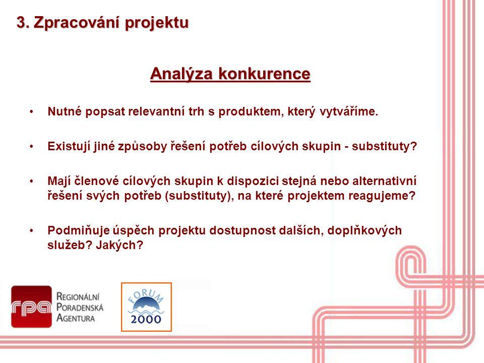 3. Zpracování projektu Analýza konkurence Nutné popsat relevantní trh s produktem, který vytváříme. Existují jiné způsoby řešení potřeb cílových skupi
