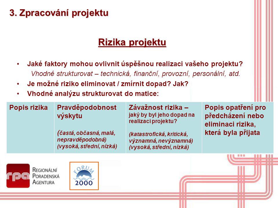 3. Zpracování projektu Rizika projektu Jaké faktory mohou ovlivnit úspěšnou realizaci vašeho projektu? Vhodné strukturovat – technická, finanční, prov