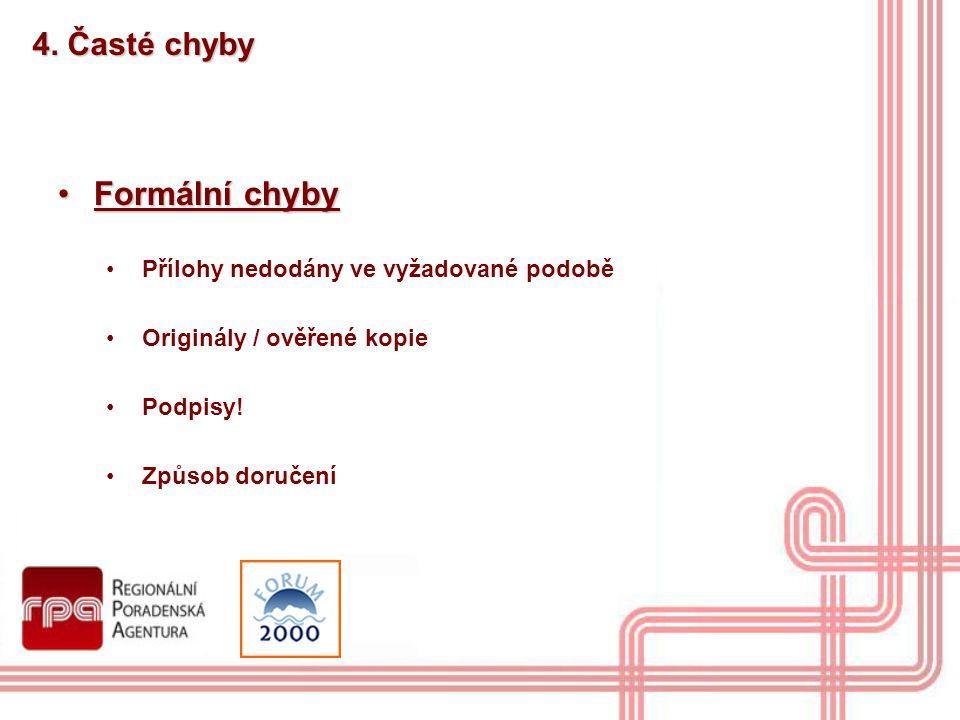 4. Časté chyby Formální chybyFormální chyby Přílohy nedodány ve vyžadované podobě Originály / ověřené kopie Podpisy! Způsob doručení