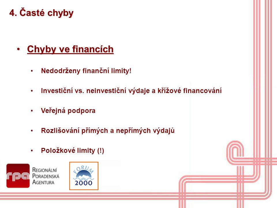 4. Časté chyby Chyby ve financíchChyby ve financích Nedodrženy finanční limity! Investiční vs. neinvestiční výdaje a křížové financování Veřejná podpo