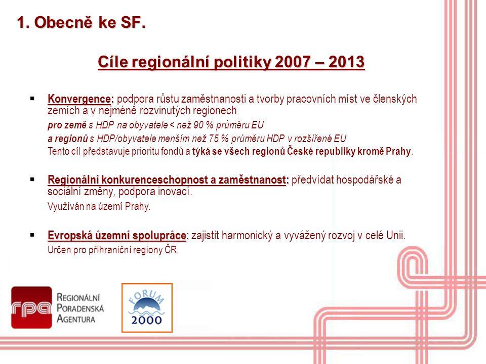 1. Obecně ke SF. Cíle regionální politiky 2007 – 2013  Konvergence:  Konvergence: podpora růstu zaměstnanosti a tvorby pracovních míst ve členských