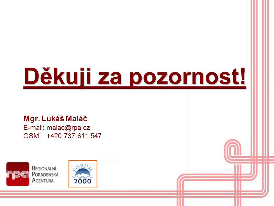 Děkuji za pozornost! malac@rpa.cz Děkuji za pozornost! Mgr. Lukáš Maláč E-mail: malac@rpa.cz GSM: +420 737 611 547