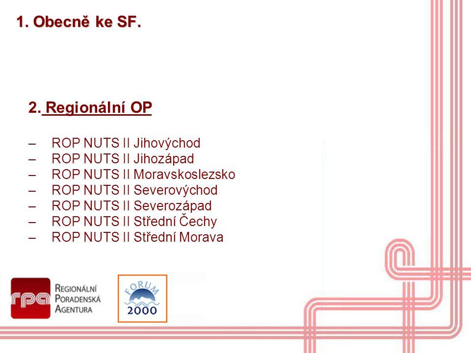 1. Obecně ke SF. 2. Regionální OP –ROP NUTS II Jihovýchod –ROP NUTS II Jihozápad –ROP NUTS II Moravskoslezsko –ROP NUTS II Severovýchod –ROP NUTS II S
