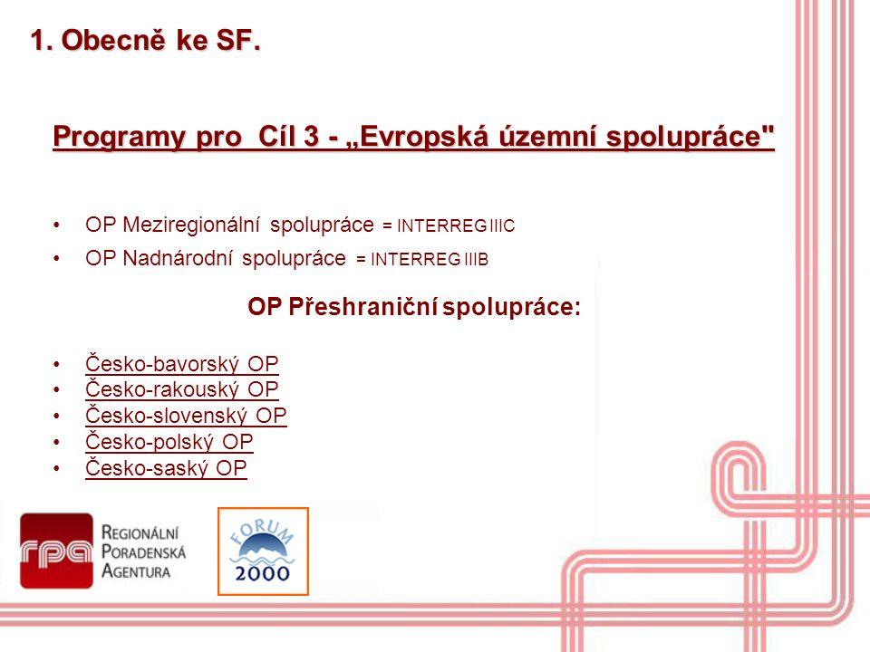 """1. Obecně ke SF. Programy pro Cíl 3 - """"Evropská územní spolupráce"""