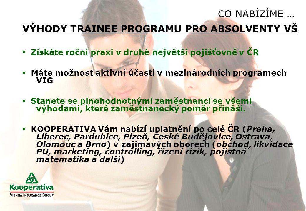 CO NABÍZÍME …  Získáte roční praxi v druhé největší pojišťovně v ČR  Máte možnost aktivní účasti v mezinárodních programech VIG  Stanete se plnohod