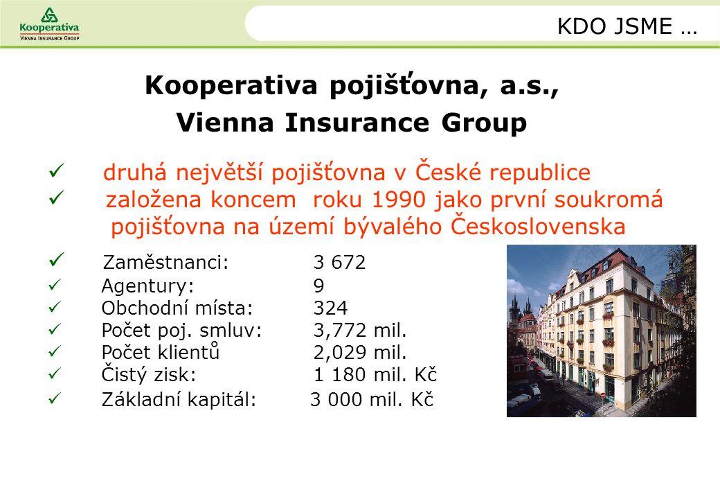 Kooperativa pojišťovna, a.s., Vienna Insurance Group KDO JSME … druhá největší pojišťovna v České republice založena koncem roku 1990 jako první soukr