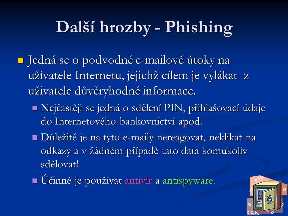 Další hrozby - Phishing Jedná se o podvodné e-mailové útoky na uživatele Internetu, jejichž cílem je vylákat z uživatele důvěryhodné informace. Jedná
