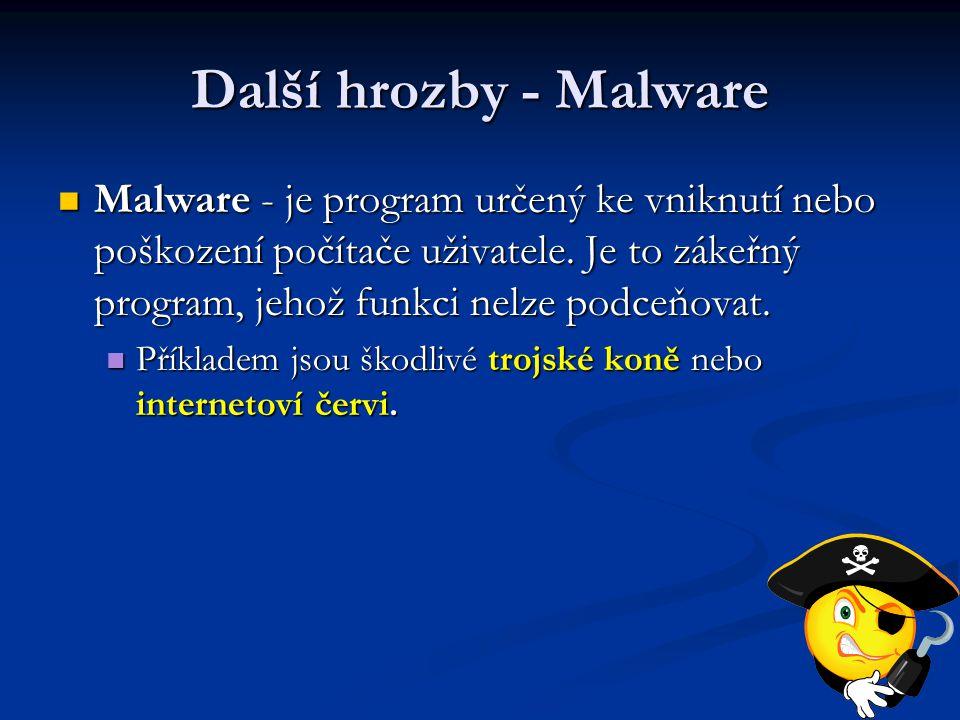 Další hrozby - Malware Malware - je program určený ke vniknutí nebo poškození počítače uživatele. Je to zákeřný program, jehož funkci nelze podceňovat