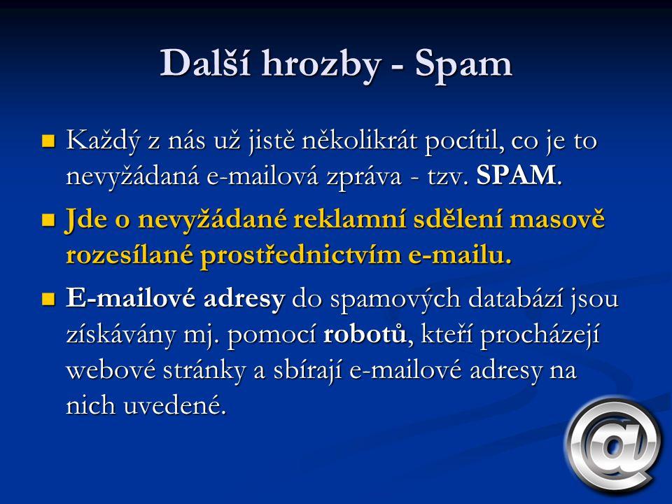 Další hrozby - Spam Každý z nás už jistě několikrát pocítil, co je to nevyžádaná e-mailová zpráva - tzv. SPAM. Každý z nás už jistě několikrát pocítil