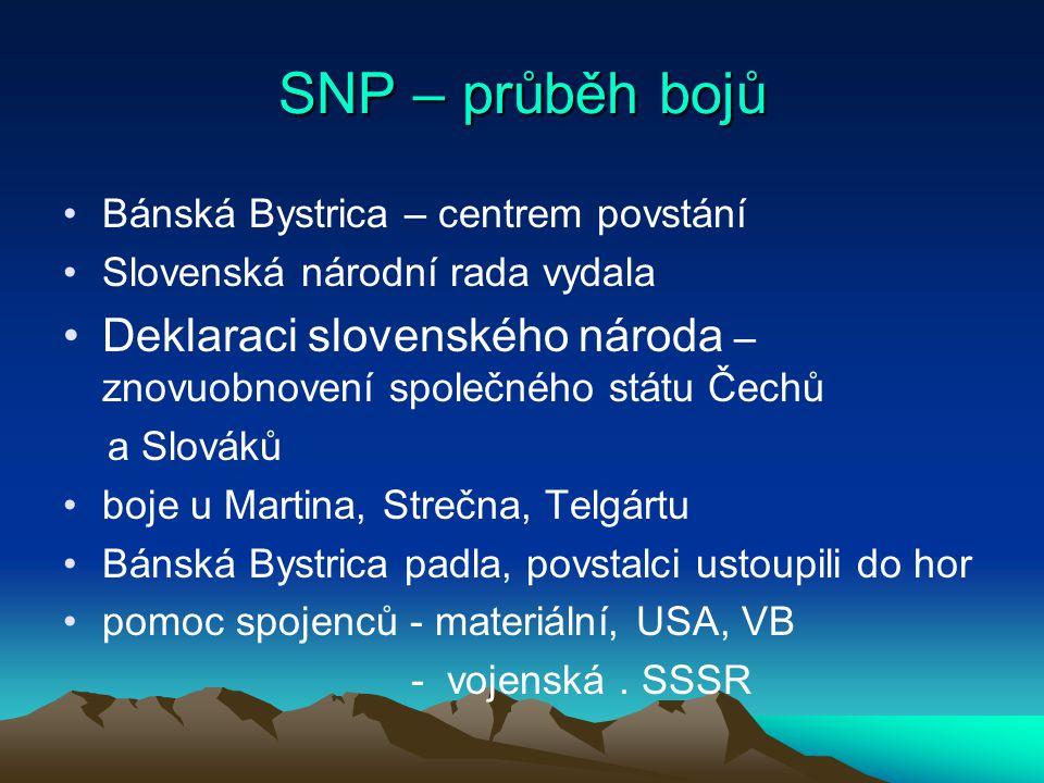 SNP – průběh bojů Bánská Bystrica – centrem povstání Slovenská národní rada vydala Deklaraci slovenského národa – znovuobnovení společného státu Čechů