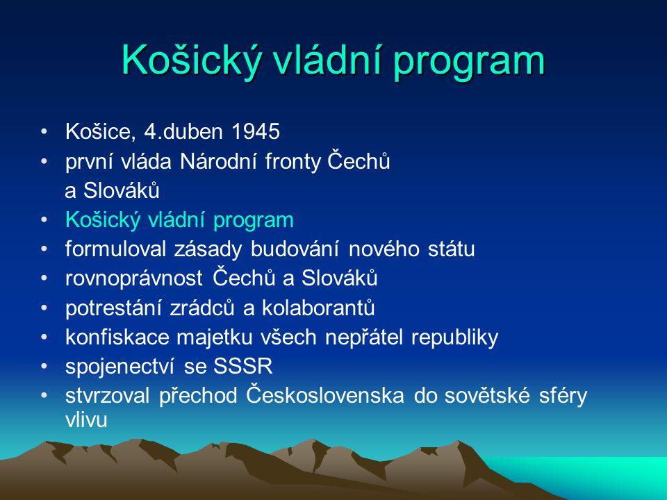 Košický vládní program Košice, 4.duben 1945 první vláda Národní fronty Čechů a Slováků Košický vládní program formuloval zásady budování nového státu