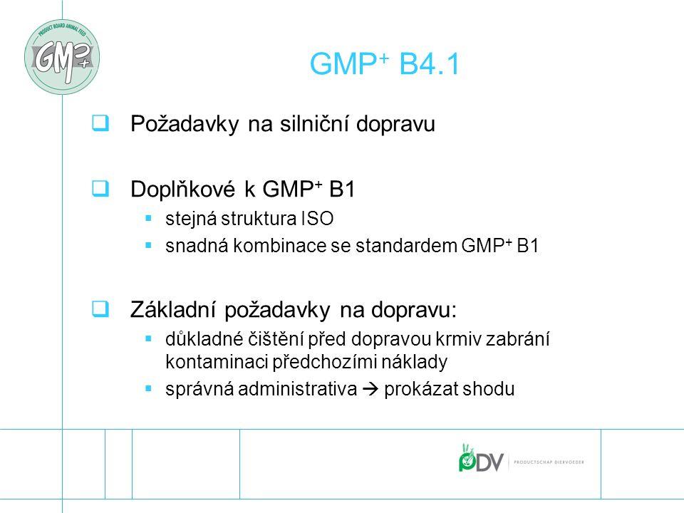 GMP + B4.1  Požadavky na silniční dopravu  Doplňkové k GMP + B1  stejná struktura ISO  snadná kombinace se standardem GMP + B1  Základní požadavk