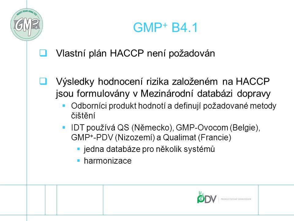 GMP + B4.1  Vlastní plán HACCP není požadován  Výsledky hodnocení rizika založeném na HACCP jsou formulovány v Mezinárodní databázi dopravy  Odborn