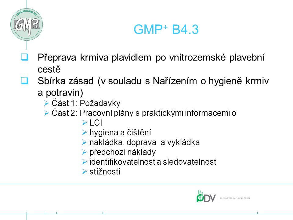 GMP + B4.3  Přeprava krmiva plavidlem po vnitrozemské plavební cestě  Sbírka zásad (v souladu s Nařízením o hygieně krmiv a potravin)  Část 1: Poža