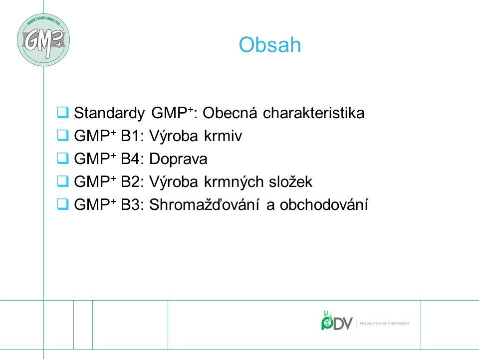 """GMP + : Obecná charakteristika  Požadavky pro kontrolu bezpečnosti všech činností a krmiv  požadavky systému řízení (založeny na """"ISO 9001 )  plná integrace zásad HACCP  rozšířené požadavky pro program nezbytných předpokladů  v souladu se zákonem o krmivech EU  znění:  obecné a výňatek (GMP + B1/B4) nebo  praktičtější a přesnější (GMP + B2/B3)  Aktualizováno pro kontrolu bezpečnosti krmiv"""