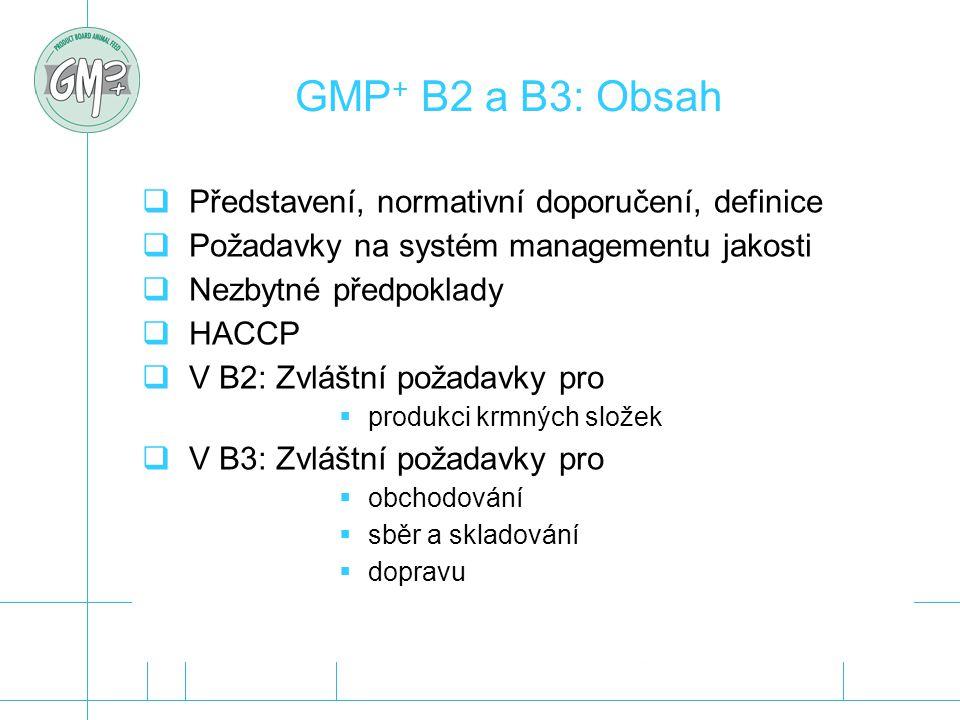 GMP + B2 a B3: Obsah  Představení, normativní doporučení, definice  Požadavky na systém managementu jakosti  Nezbytné předpoklady  HACCP  V B2: Z