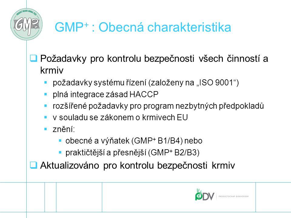 """GMP + : Obecná charakteristika  Požadavky pro kontrolu bezpečnosti všech činností a krmiv  požadavky systému řízení (založeny na """"ISO 9001"""")  plná"""