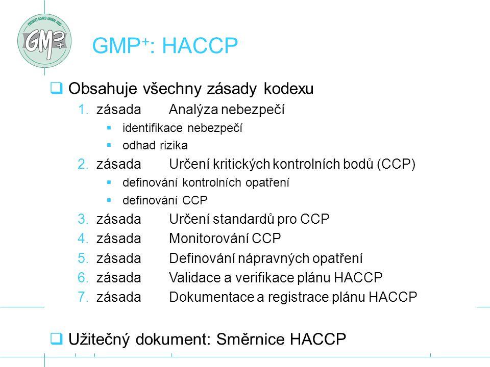  Obsahuje všechny zásady kodexu 1.zásada Analýza nebezpečí  identifikace nebezpečí  odhad rizika 2.zásada Určení kritických kontrolních bodů (CCP)