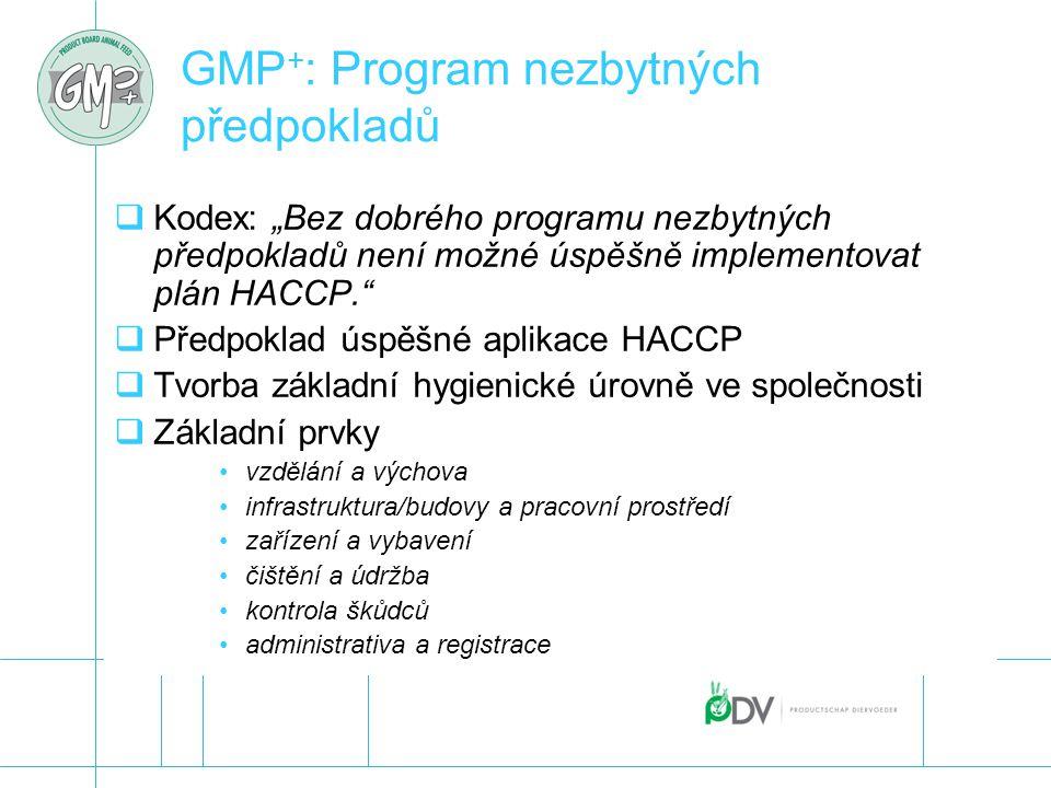 """GMP + : Program nezbytných předpokladů  Kodex: """"Bez dobrého programu nezbytných předpokladů není možné úspěšně implementovat plán HACCP.""""  Předpokla"""
