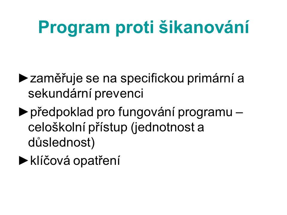 Program proti šikanování ►zaměřuje se na specifickou primární a sekundární prevenci ►předpoklad pro fungování programu – celoškolní přístup (jednotnost a důslednost) ►klíčová opatření
