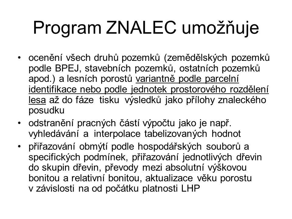 Program ZNALEC umožňuje ocenění všech druhů pozemků (zemědělských pozemků podle BPEJ, stavebních pozemků, ostatních pozemků apod.) a lesních porostů variantně podle parcelní identifikace nebo podle jednotek prostorového rozdělení lesa až do fáze tisku výsledků jako přílohy znaleckého posudku odstranění pracných částí výpočtu jako je např.