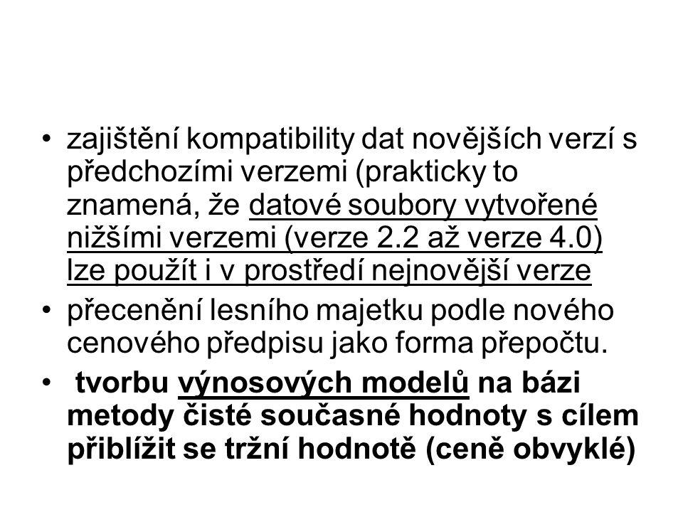 zajištění kompatibility dat novějších verzí s předchozími verzemi (prakticky to znamená, že datové soubory vytvořené nižšími verzemi (verze 2.2 až verze 4.0) lze použít i v prostředí nejnovější verze přecenění lesního majetku podle nového cenového předpisu jako forma přepočtu.