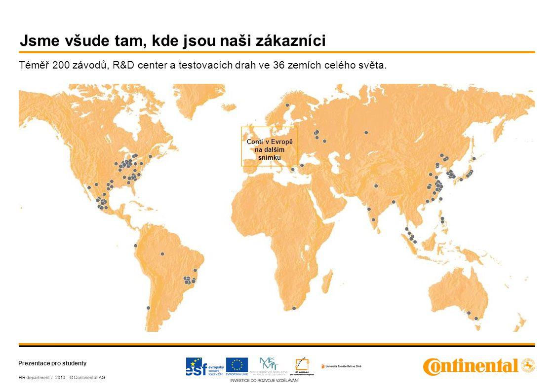 Prezentace pro studenty HR department / 2010 © Continental AG Kde nás najdete v Evropě.