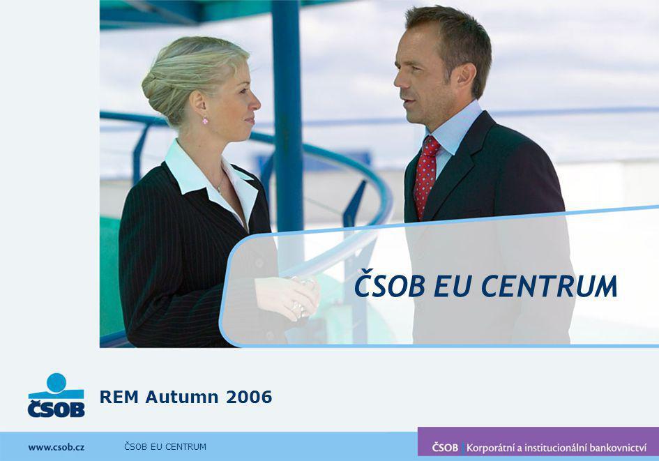 ČSOB EU CENTRUM Fáze III – Dotační management V případě, že klient obdrží dotaci, zajistíme službu dotačního managementu Dotační management = poradenství a asistence v průběhu realizace projektu a v období udržitelnosti dotace Minimalizace rizika krácení dotace nebo odebraní dotace v období její udržitelnosti