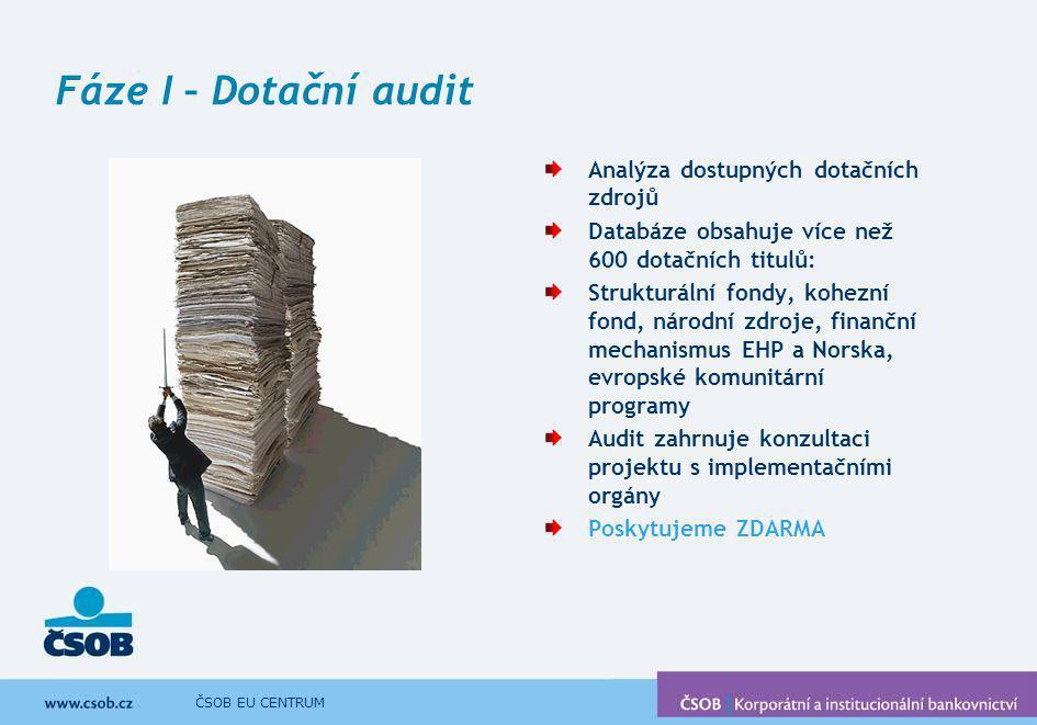 ČSOB EU CENTRUM Fáze I – Dotační audit Analýza dostupných dotačních zdrojů Databáze obsahuje více než 600 dotačních titulů: Strukturální fondy, kohezn
