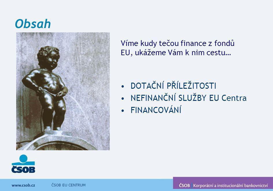 ČSOB EU CENTRUM Obsah DOTAČNÍ PŘÍLEŽITOSTI NEFINANČNÍ SLUŽBY EU Centra FINANCOVÁNÍ Víme kudy tečou finance z fondů EU, ukážeme Vám k nim cestu…