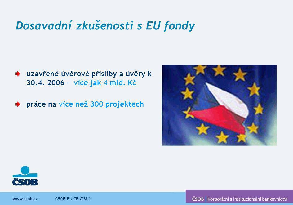 ČSOB EU CENTRUM Dosavadní zkušenosti s EU fondy uzavřené úvěrové přísliby a úvěry k 30.4. 2006 – více jak 4 mld. Kč práce na více než 300 projektech