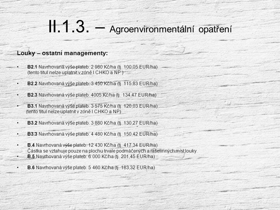 II.1.3. – Agroenvironmentální opatření Titul B. 1 – Louky (základní management) Podmínky poskytnutí podpory : Používat hnojiva a statková hnojiva každ