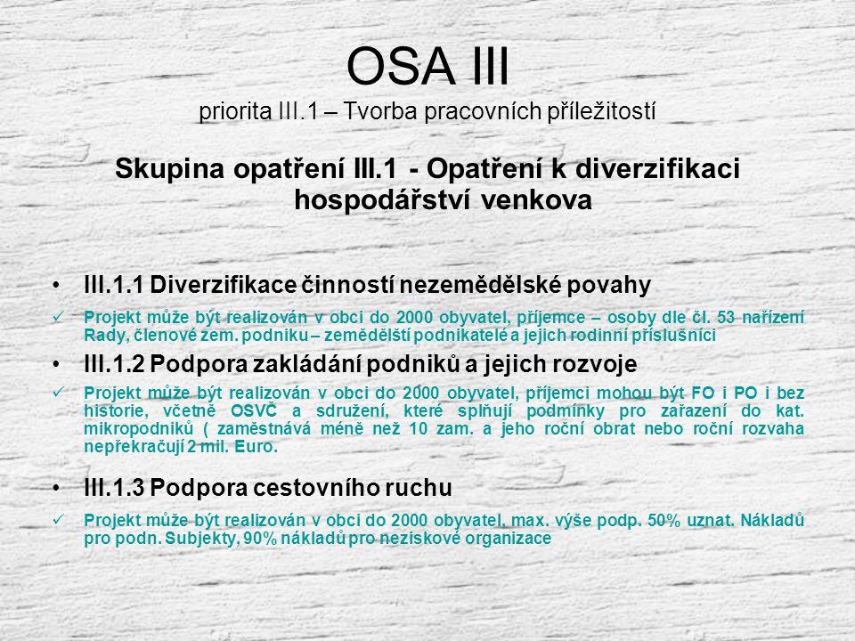 OSA III Priorita 3.1. – Tvorba pracovních příležitostí Priorita 3.2. – Podmínky růstu a kvalita života na venkově Priorita 3.3. – Vzdělávání a místní