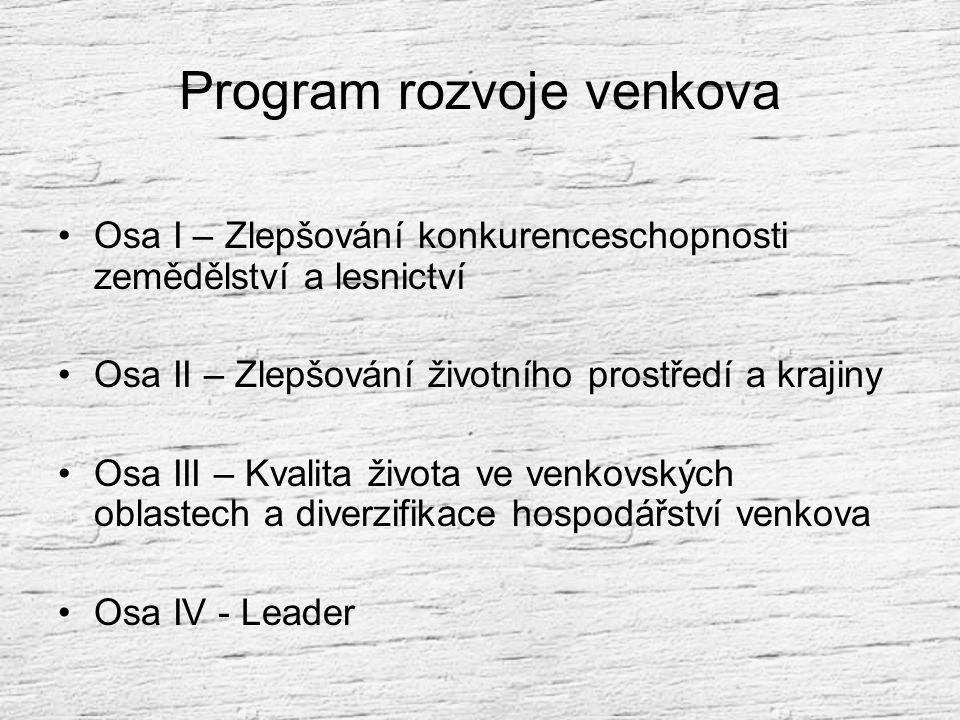Program rozvoje venkova 2007 - 2013 Stručný výtah z materiálu, schváleného vládou, který je ve fázi schvalování UE Zdroj: www.mze.cz / staženo dne 2.1