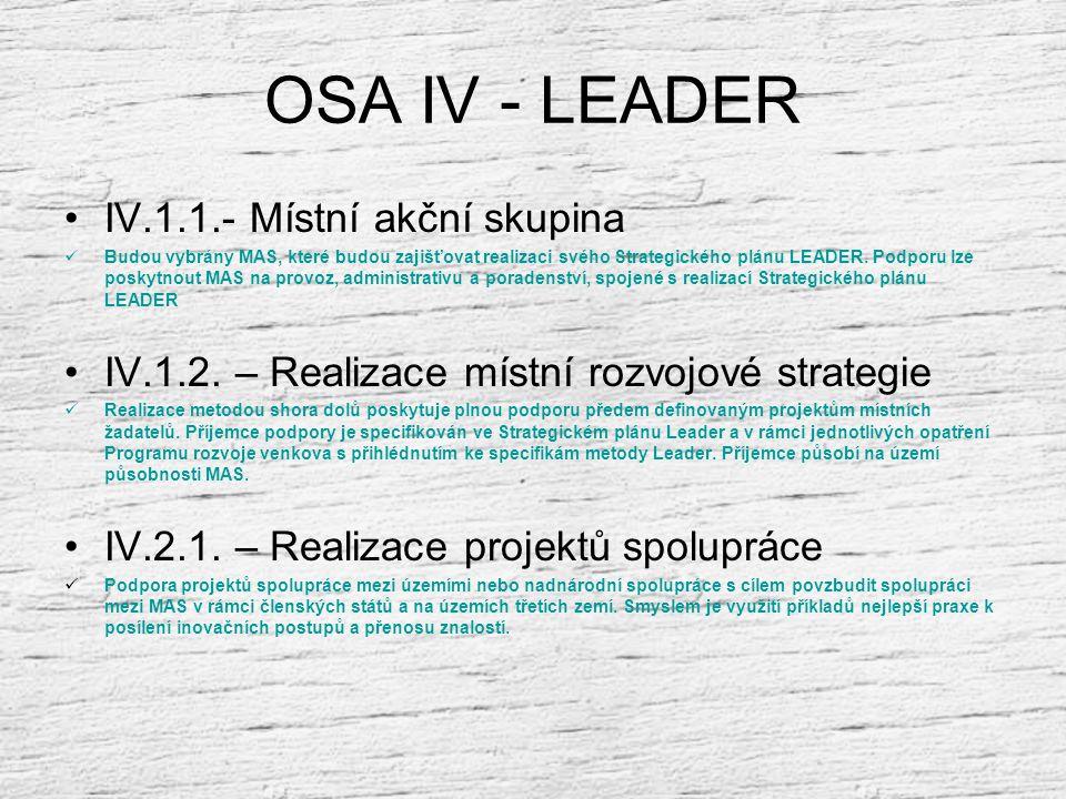 OSA IV - LEADER Zlepšení řízení a mobilizace přirozeného vnitřního rozvojového potenciálu venkovských oblastí