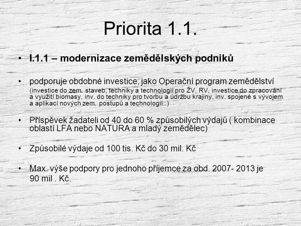 OSA I Priorita I.1. – Zlepšení konkurenceschopnosti zemědělství a lesnictví Priorita I.2. – Přenos znalostí