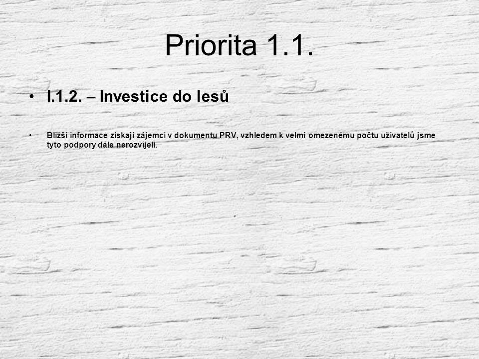 Priorita 1.1. I.1.1 – modernizace zemědělských podniků podporuje obdobné investice, jako Operační program zemědělství (investice do zem. staveb, techn