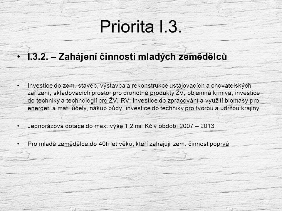 Priorita I.3.I.3.2. – Zahájení činnosti mladých zemědělců Investice do zem.