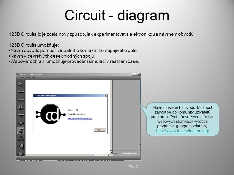 Circuit - diagram 123D Circuits.io je zcela nový způsob, jak experimentovat s elektronikou a návrhem obvodů 123D Circuits umožňuje: Návrh obvodu pomoc