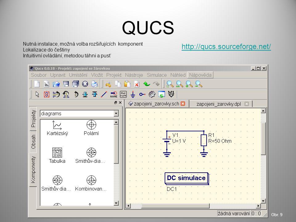 QUCS Nutná instalace, možná volba rozšiřujících komponent Lokalizace do češtiny Intuitivní ovládání, metodou táhni a pusť http://qucs.sourceforge.net/