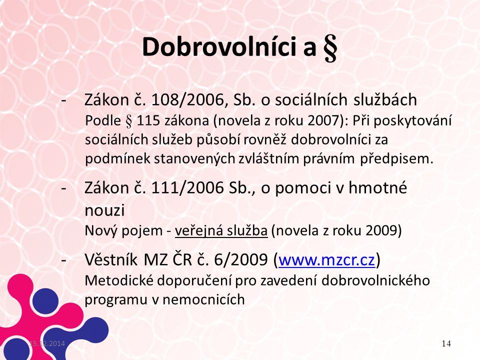 Dobrovolníci a § 15.12.2014 14 -Zákon č.108/2006, Sb.