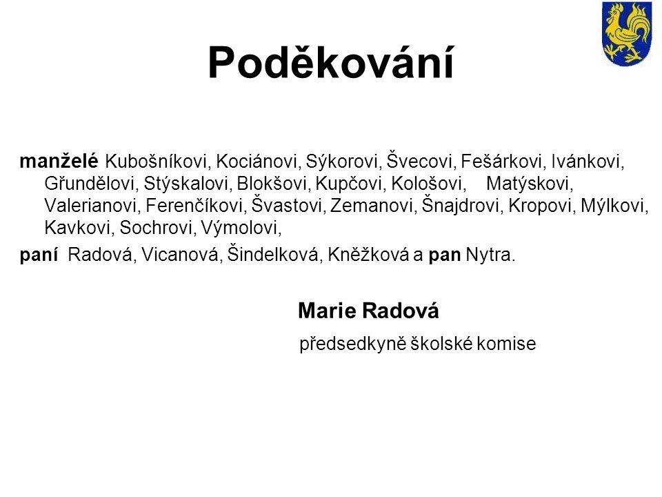 Poděkování manželé Kubošníkovi, Kociánovi, Sýkorovi, Švecovi, Fešárkovi, Ivánkovi, Gřundělovi, Stýskalovi, Blokšovi, Kupčovi, Kološovi, Matýskovi, Val