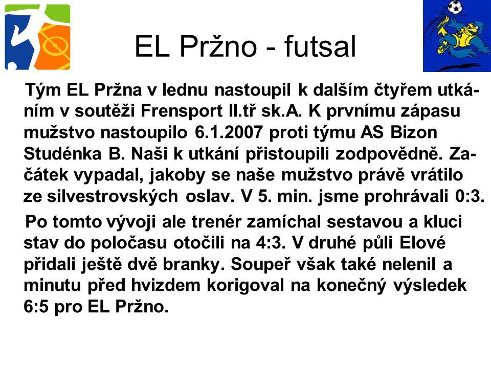 Tým EL Pržna v lednu nastoupil k dalším čtyřem utká- ním v soutěži Frensport II.tř sk.A. K prvnímu zápasu mužstvo nastoupilo 6.1.2007 proti týmu AS Bi