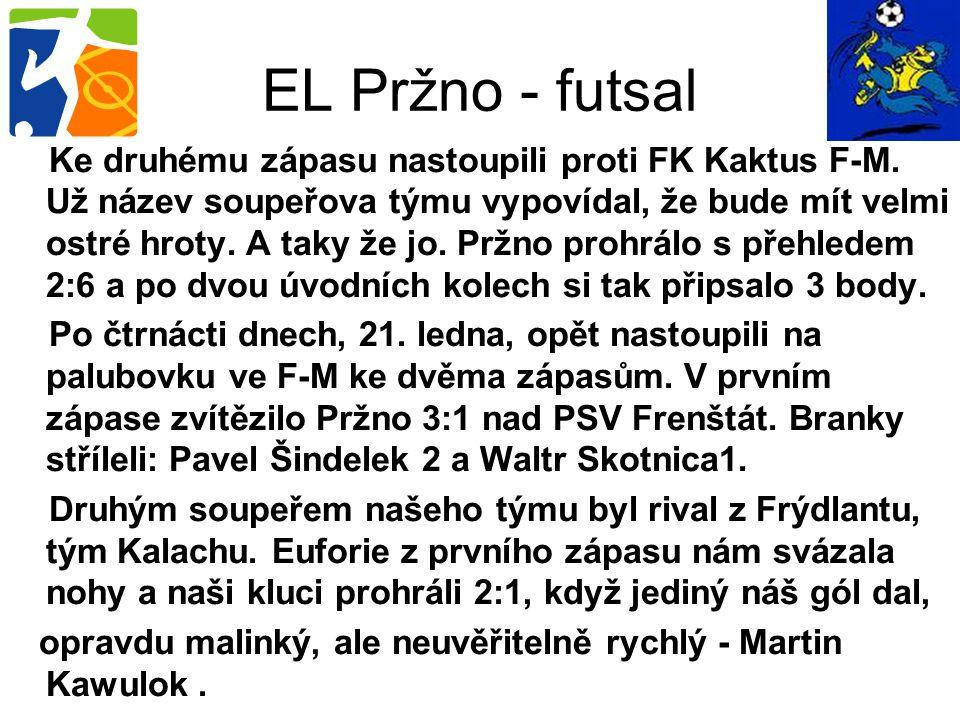 Ke druhému zápasu nastoupili proti FK Kaktus F-M. Už název soupeřova týmu vypovídal, že bude mít velmi ostré hroty. A taky že jo. Pržno prohrálo s pře