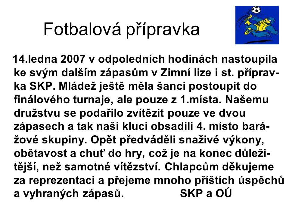 Tabulka st.přípravka Družstvo + 0 - skóre body 1.