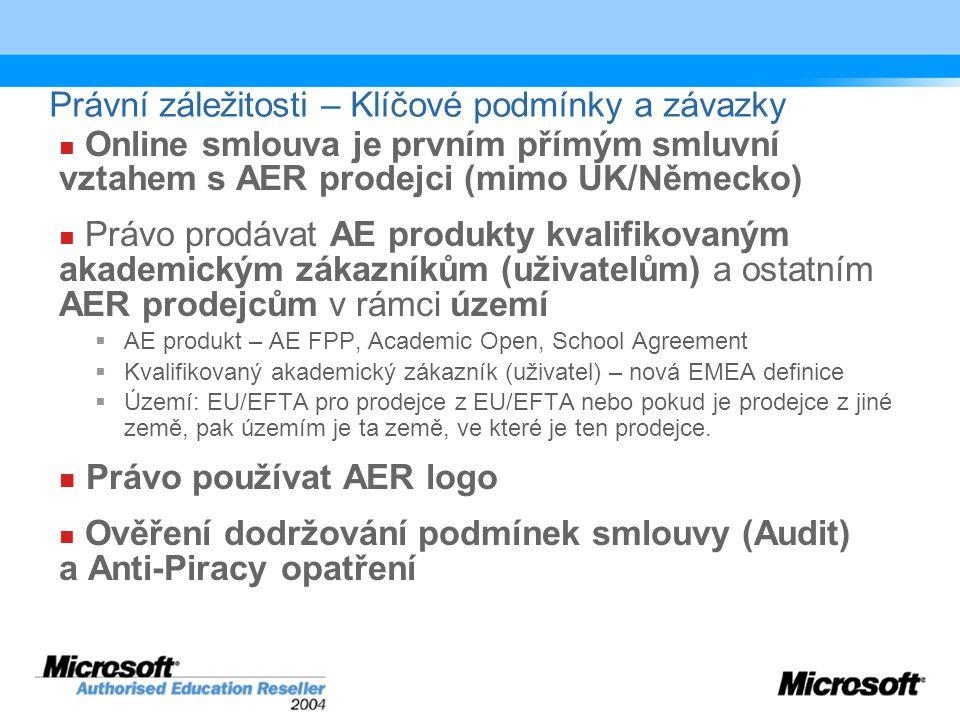 Právní záležitosti – Klíčové podmínky a závazky Online smlouva je prvním přímým smluvní vztahem s AER prodejci (mimo UK/Německo) Právo prodávat AE produkty kvalifikovaným akademickým zákazníkům (uživatelům) a ostatním AER prodejcům v rámci území  AE produkt – AE FPP, Academic Open, School Agreement  Kvalifikovaný akademický zákazník (uživatel) – nová EMEA definice  Území: EU/EFTA pro prodejce z EU/EFTA nebo pokud je prodejce z jiné země, pak územím je ta země, ve které je ten prodejce.
