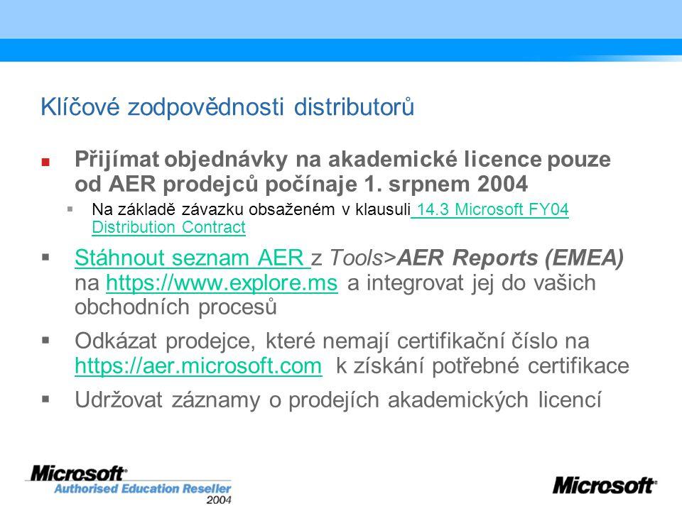 Klíčové zodpovědnosti distributorů Přijímat objednávky na akademické licence pouze od AER prodejců počínaje 1.