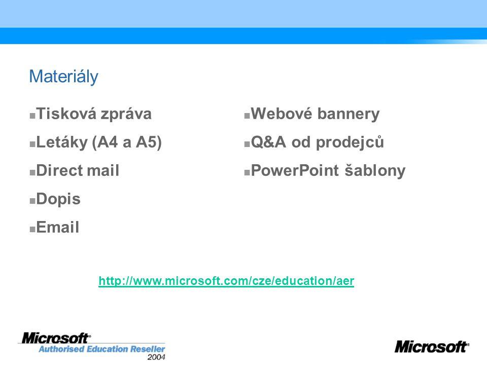 Materiály Tisková zpráva Letáky (A4 a A5) Direct mail Dopis Email Webové bannery Q&A od prodejců PowerPoint šablony http://www.microsoft.com/cze/education/aer