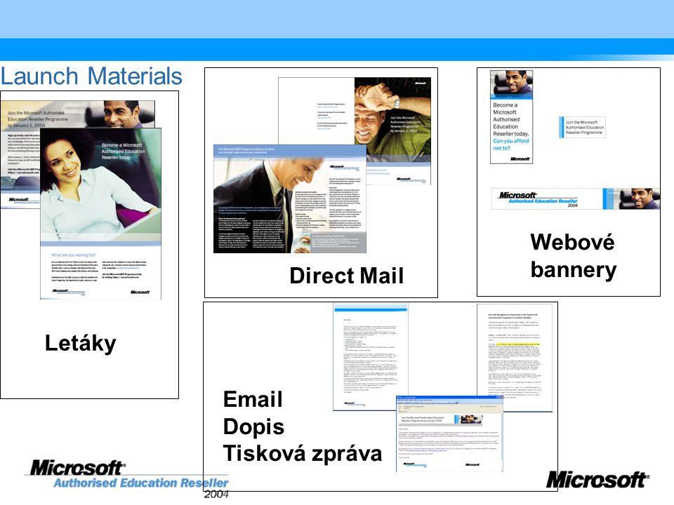 Launch Materials Letáky Direct Mail Webové bannery Email Dopis Tisková zpráva